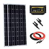 Giosolar 200 Watt 12 Volt Mnocrystalline Solar Panel Starter Kit w/20A LED Charge Controller, Solar Cable, MC4 Y Branch Connector