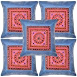 Traditional Vintage Embroidered Silk Mirror Cushion Cover 17 Inches Set 5 Pcs