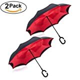 Tooge Upside Down Umbrella Windproof by, Double Layer Inverted Umbrella Waterproof for Car Rain Outdoor with C-Shaped Handle (Red + Red) (Color: Red 2 pcs)