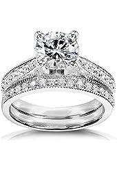 Round Moissanite & Diamond Bridal Set 1 1/3 Carat (ctw) in 14k White Gold