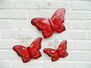 Metal Wall Art Butterfly Butterflies Set of 3 - Red