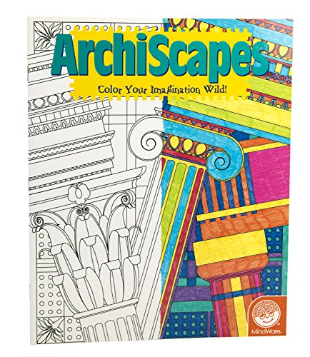 MindWare - Stained Glass Archiscapes Coloring Book - 23 Unique Puzzles - Teaches Creativity and Fosters Imagination