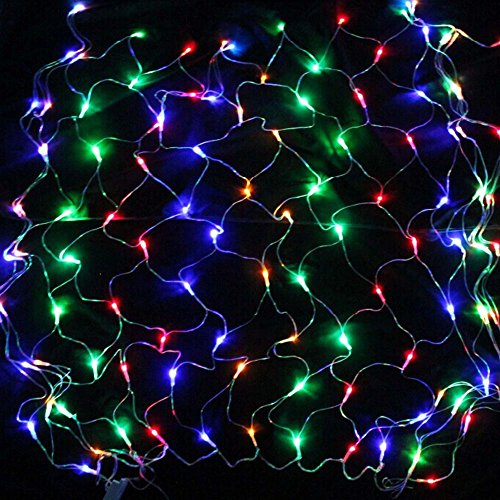Big Gadgets 1.5m*1.5m 96 LED Indoor and Outdoor Net String Lights Wedding Christmas Birthday New Year Party Home Garden Window Curtain Decoration LED Light with 8 Model (Colorful)
