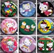 Pack of 5 Random Round Hello Kitty 3cm metal pin back Badges