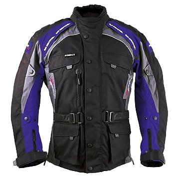 Roleff Racewear 7833 Blouson Moto Liverpool, Noir/Bleu, M