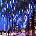 LED Meteor Shower Rain Lights ,Outdoor String Lights, Waterproof Garden Lights 30cm 8 Tubes 144leds Snow Falling Raindrop Cascading light for Holiday Wedding Xmas Tree Decor Blue Color