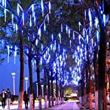 LED Meteor Shower Rain Lights ,Outdoor String Lights, Waterproof Garden Lights 30cm 8 Tubes 144leds Snow Falling...