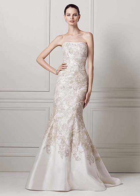 Mikado Trumpet Wedding Dress with Allover Beaded Lace