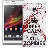 Sony Xperia SP Hard Plastic (PC) Case - Keep Calm and Kill Zombies Red/White Cover