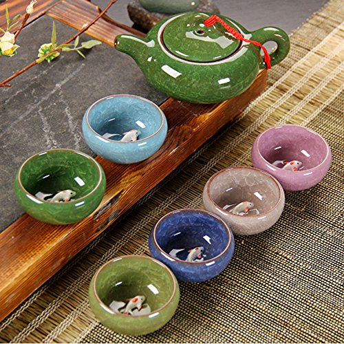 Longpro Rainbow Colors Ice Cracked Glaze Kung Fu Tea Sets (Cups with fish) (Japanese Tea Service Set compare prices)
