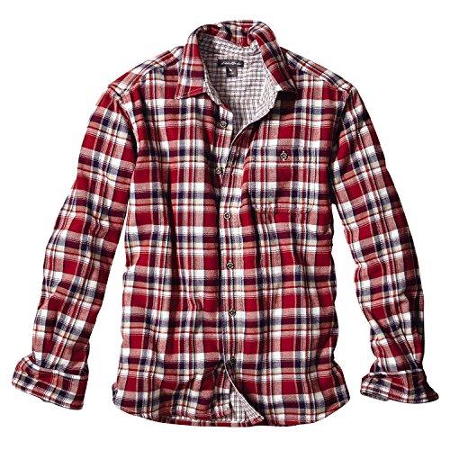 (エディー・バウアー) Eddie Bauer 長袖ダブルガーゼヘリンボーンパターンシャツ(スカーレット S)