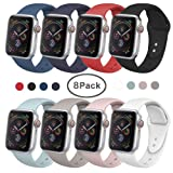 SIRUIBO Band Compatible for Apple Watch 42mm, Soft Silicone Sport Strap Replacement Bracelet Wristband Compatible for Apple Watch Series 2, Series 1, Sport, Edition, S/M Size (8Pack) (Color: Y-8 Pack, Tamaño: 44mm/42mm S/M)