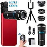 Phone Camera Lens for Iphone , MSDADA Telephoto Lens Kit, 12X Optical Telescope, Fisheye, Wide Angle and Macro Lens, Retractable Tripod with Bluetooth