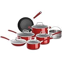 KitchenAid KC2AS12ER Aluminum Nonstick 12 Piece Cookware Set (Empire Red)