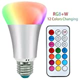 LED Bulb RGBW with IR Remote Control , 10w 6000k A19 Lamp Dimmable RGB , E26 E27 Base Night Atmosphere/Mood Lights , Pure Cool White Light , RGB  Whi