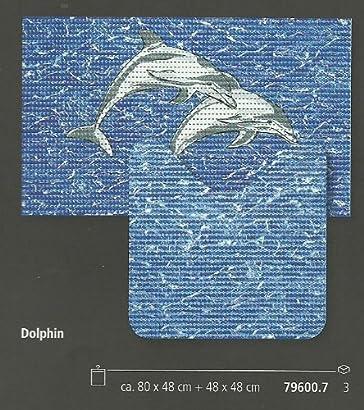 Friedola 79600 Ensemble Tapis De Bain Et Tapis Wc Bleu 80 X 48 Cm 48