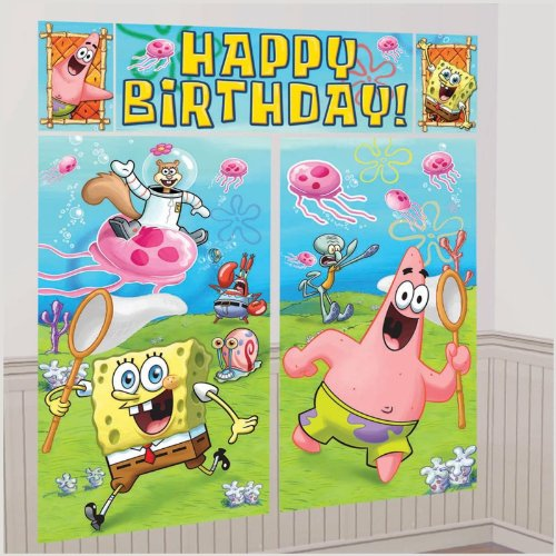 New Art SPONGEBOB SCENE SETTER Happy Birthday Party Wall Decoration Room Decor BACKDROP - 1
