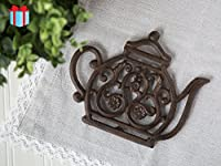 Cast Iron Trivet | Vintage Tea Pot | Decorative Cast Iron Trivet For Kitchen Or Dining Table | 7.7x6.3' | With Rubber Legs | by Comfify CA-1504-11-BR