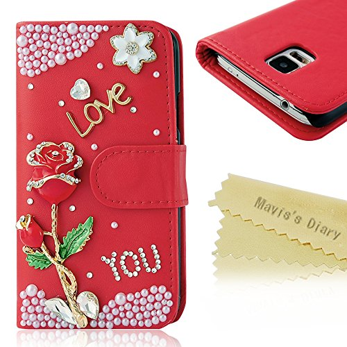S5 Case-Mavis'S Diary 3D Handmade Bling Crystal Rose Flower Alphabet Sparkle Glitter Rhinestone Diamond Pearl Pu Leather Wallet Type With Magnetic Clasp Credit Card Holder Design Folio Case Cover For Samsung Galaxy S5 Sv S Iv I9600 2014 With Soft Clean Cl