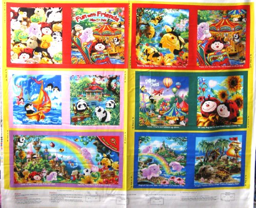"""44"""" Wide Pillow Pets Soft Book Cotton Fabric By The Panel front-59653"""