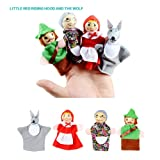 JZH Different Cartoon Animal Finger Puppets Soft Plush Dolls Baby Educational Props Storytelling Toys. (Little Red Riding Hood)