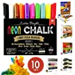 NUDGE� 3-IN-1: Liquid Chalk Markers Paint in each Marker Pen - 10 , 6mm Marker Pens - Dry & Wet Erase / Wipe - Dustless / Toxic Free - REVERSIBLE TIP (Fine Tip - Chisel & Round Tip)