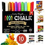 NUDGE® 3-IN-1: Liquid Chalk Markers Paint in each Marker Pen - 10 , 6mm Marker Pens - Dry & Wet Erase / Wipe - Dustless / Toxic Free - REVERSIBLE TIP (Fine Tip - Chisel & Round Tip)