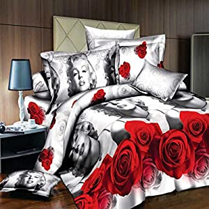 HQdeal Marilyn Monroe HD 3D bedding queen bedding set ployester cotton bed sheets bed set home textile duvet cover set quilt cover 4pc