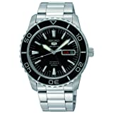 Seiko 5 SNZH55 Automatic Black Dial Stainless Steel Mens Watch (Color: Silver)