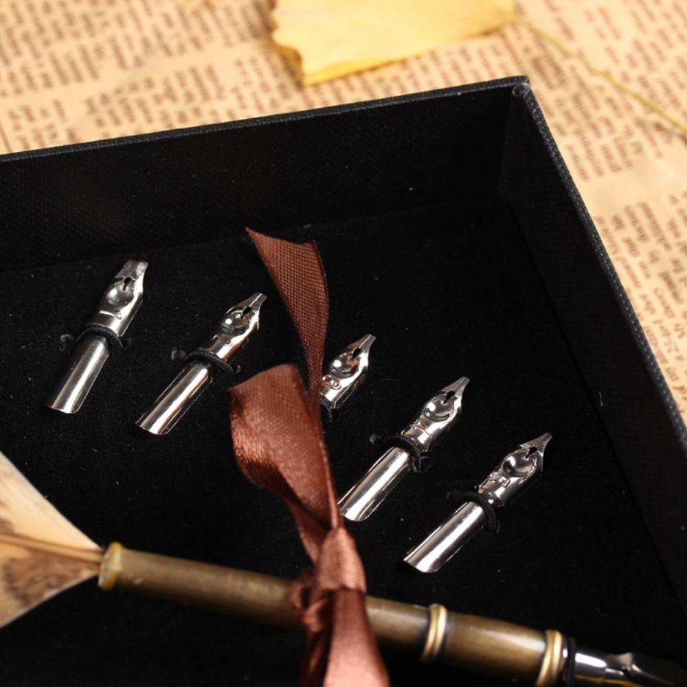 PASSION juneTree Calligraphy Pen Feather Writing Quill pens Antique Owl Feather Metal Nibbed Pen 1