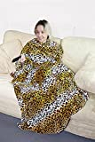 Stylish Supersoft Large Leopard Fleece TV Blanket with Sleeves