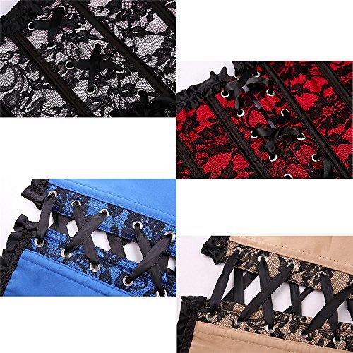 UNHO-Plus-Size-Lace-Overbust-Corset-Basques-Bustier-Lingerie-Sets-Boned-Lace-up-Slim-CorsetG-string
