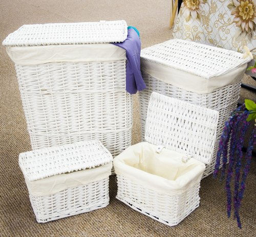 White Wicker Laundry Storage Basket with Cotton Lining