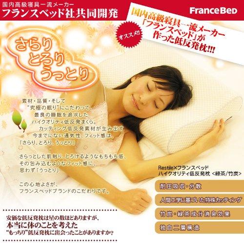 フランスベッド共同開発 低反発枕 竹炭配合 洗える枕カバー付(硬さ:ミディアム) グレー RFP-001