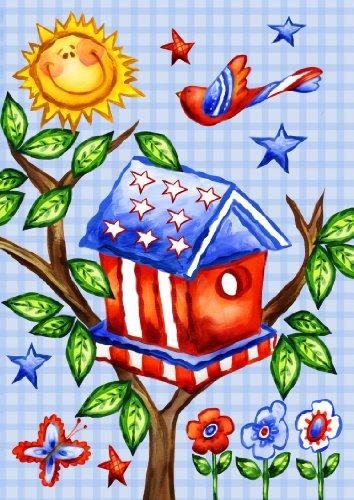 Toland Home Garden Patriotic Birdhouse 28 x 40-Inch Decorative USA-Produced House Flag