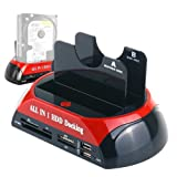 WANLONGXIN WLX-876U3SC USB 3.0 to SATA Dual Bay External Hard Drive Docking Station with Offline Clone Function and Card Reader USB Hub, for 2.5 3.5 Inch HDD SSD SATA I/II/III up to 2 x 8TB (Color: Red and Black)