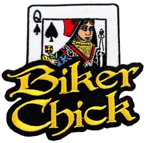Biker Chick Embroidered Patch Female Motorcycle Queen of Spades Iron-On Emblem