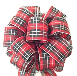 Tree Topper - Red and Black Bow - Tartan Plaid Bow - Tree Topper Bow - Gift Bows - Christmas Decoration Bow - 8 Inch Wide Handmade Bow -