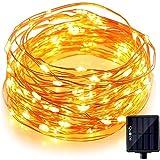 Quace Solar Light 100 Pc Yellow LED Festival Copper String Light Diwali Home Decoration