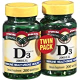 Spring Valley twin pack vitamin d3 2000I.U. Immune Health/Bone Health, 200 softgels (2 Pack) Reviews