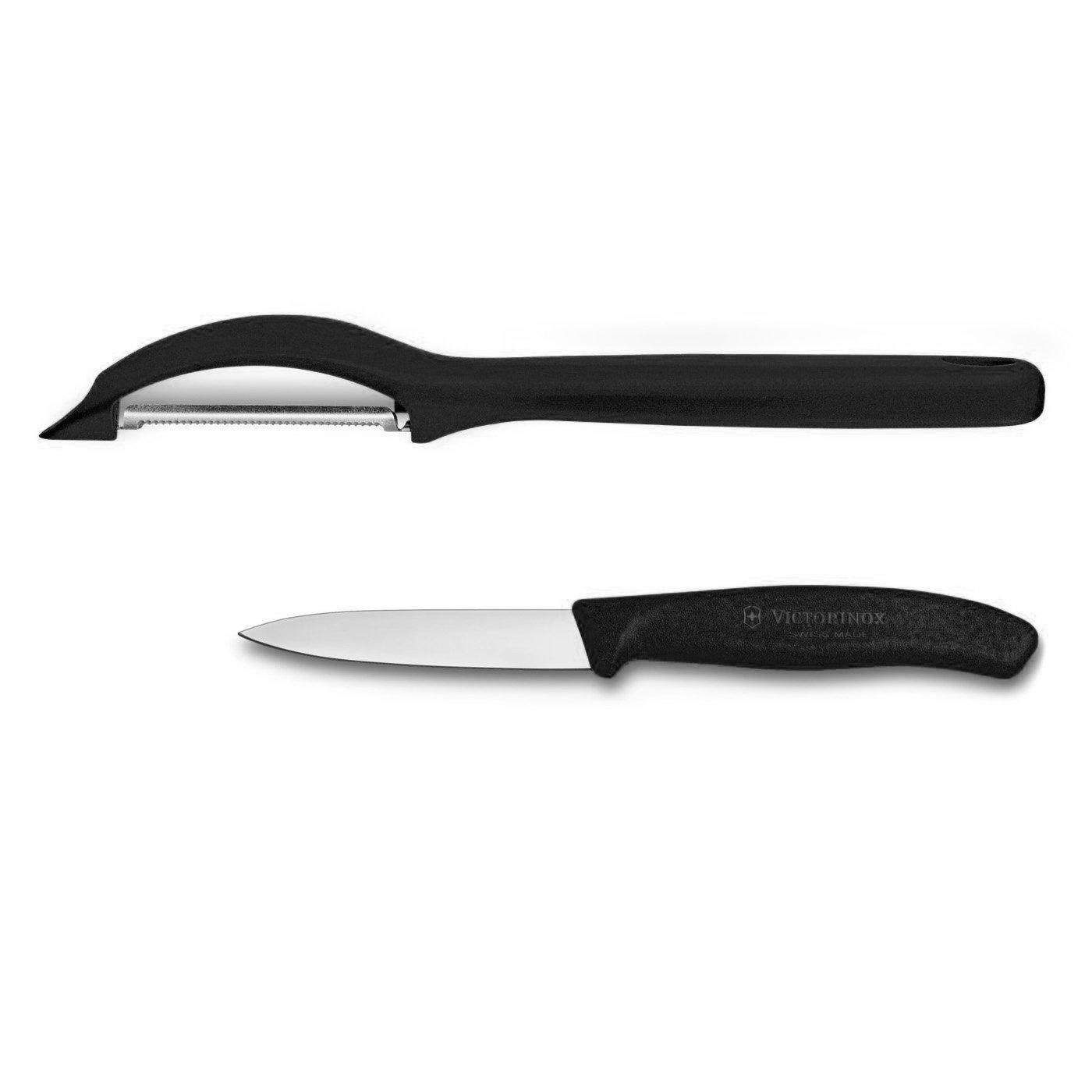 Victorinox Swiss 2 Piece Stainless Steel Paring Knife and Peeler Set with Black Fibrox Handles bestlead chinese peony pattern zirconia ceramics 4 6 knife chopping knife peeler holder