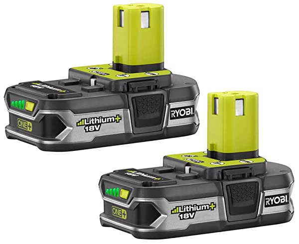 Ryobi P107 One+ 18 Volt Compact Lithium Ion 1.5 Ah Battery Multi Pack (2 Batteries) (Color: Silver)
