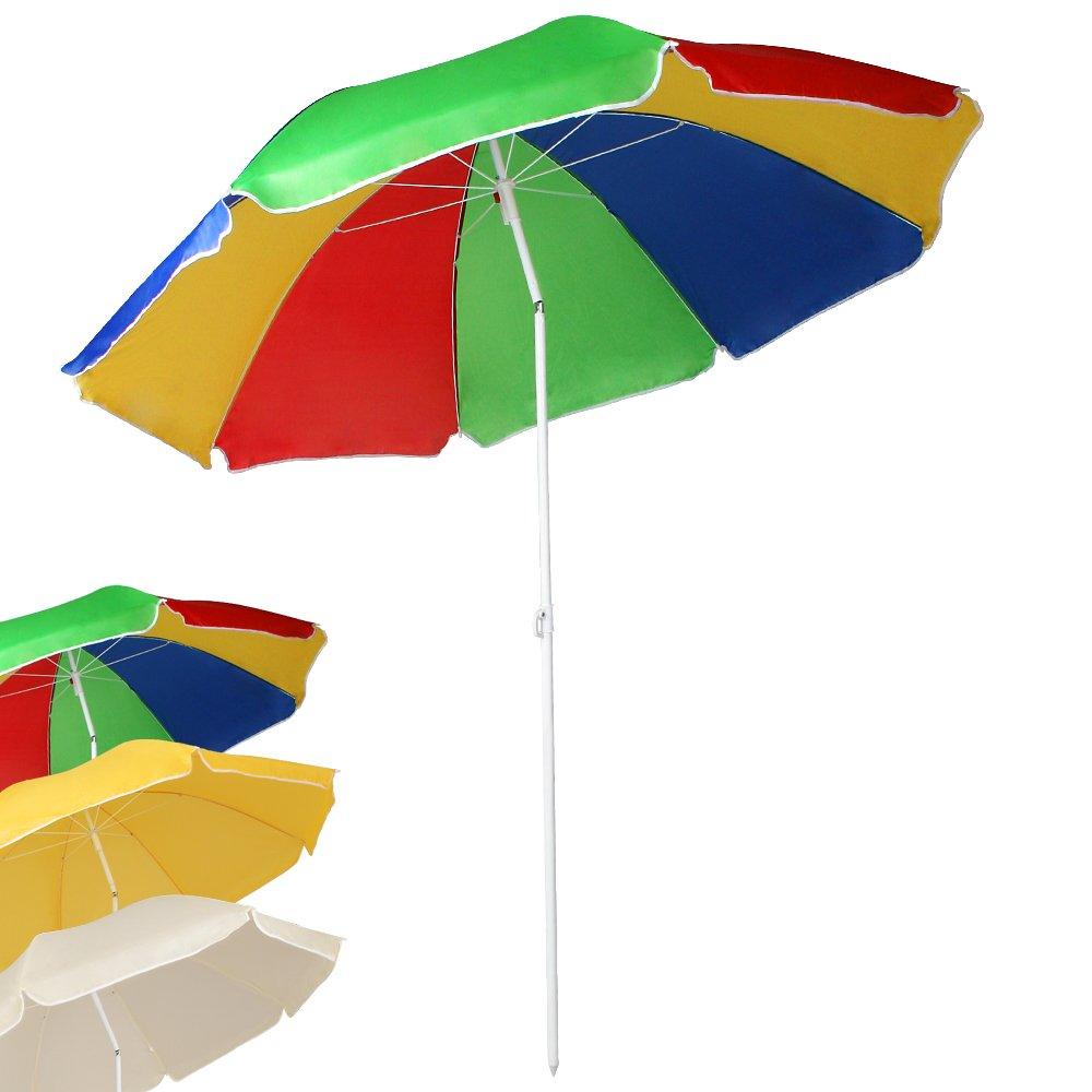 Miadomodo - Sombrilla de playa multicolor 140cm  Jardín Comentarios y más información