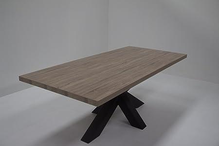 Table de séjour CELIO avec pied central en métal coloris chêne canyon 220 cm