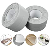 PVC Waterproof Sealing Tapes Pack of 2 Bathtub Caulk Strip Self Adhesive Waterproof Sealing Tape Edge Protector for Kitchen Countertop, Sink, Bathturb, Toilet, Gas Stove and Wall Coner, Grey (Color: Grey)