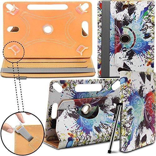 Prestigio MultiPad 8.0 Pro Duo Tablet Neues Design Universelle um 360 Grad drehbare PU-Leder Designer bunte Hülle mit Standfunktion - Cover - Tasche - regenbogen schmetterling / Rainbow Butterfly von Gadget Giant®