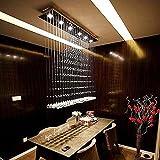 7PM L40' X W10' X H40' Modern Rain Drop Clear LED K9 Crystal Chandelier