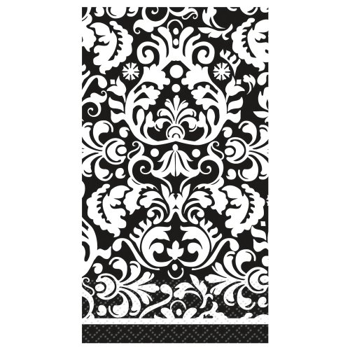16 Count Damask Guest Napkins, Black