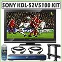 Sony BRAVIA V-Series KDL-52V5100 52-Inch 1080p LCD Flat Panel HDTV + Deluxe TV Accessory Kit