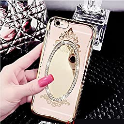 iPhone 6 Plus/6s Plus 5.5 Inch Glass Mirror TPU Case-Aurora Soft Silicone Makeup Case Bling Crown Rhinestone Cover for iPhone 6 Plus/6s Plus(Gold)